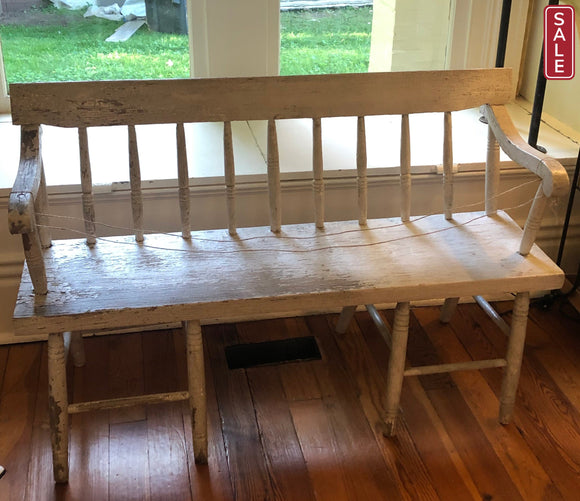 Spindle Back White Bench-Vintage-Quinn's Mercantile