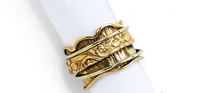 Rotating Rings-Jewelry-Gold Scalloped 7-Quinn's Mercantile