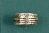 Rotating Rings-Jewelry-Silver Green Gem 7-Quinn's Mercantile