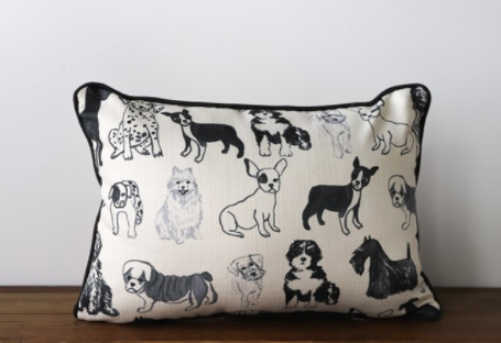 Dog Pattern Pillow-Textiles-Quinn's Mercantile