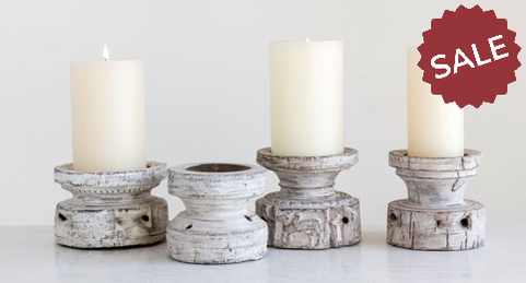 Vintage White Wood Candle Holders | Quinn's Mercantile