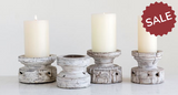 Vintage White Wood Candle Holders-Candles-Quinn's Mercantile