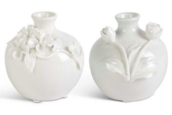White Vase with Raised Flowers-For the Home-Quinn's Mercantile