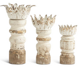 Whitewashed Wood Candleholders-For the Home-Quinn's Mercantile