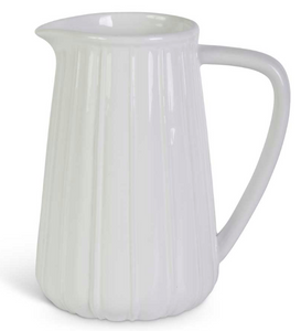 "White Ribbed Ceramic Pitchers-kitchen-7.5""-Quinn's Mercantile"