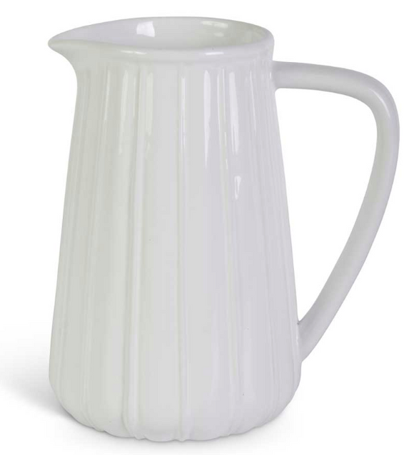 White Ribbed Ceramic Pitchers-kitchen-Quinn's Mercantile