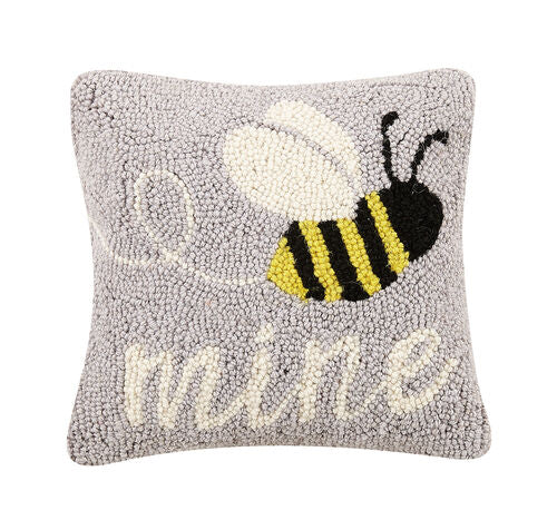 Bee Mine Hooked Pillow-Textiles-Quinn's Mercantile