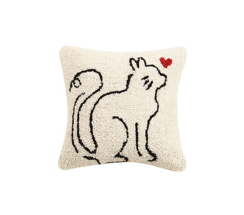 Cat Love Hooked Pillow-Textiles-Quinn's Mercantile