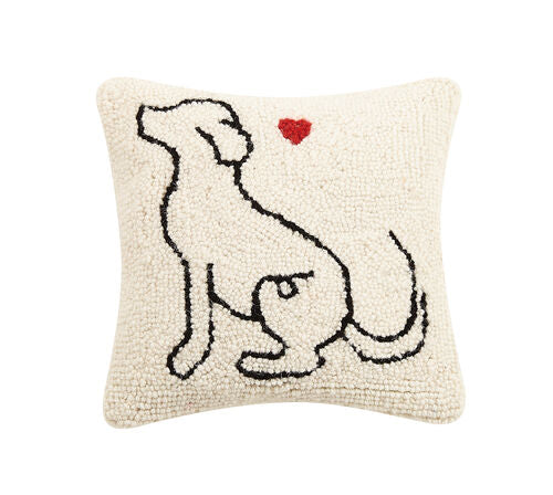 Dog Love Hooked Pillow-Textiles-Quinn's Mercantile