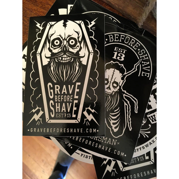 Grave Before Shave Stickers-Men's Gifts-Quinn's Mercantile