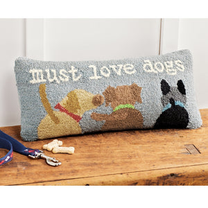 Must Love Dogs Hooked Pillow-Textiles-Quinn's Mercantile