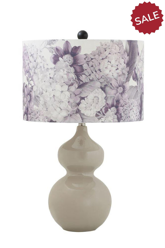 Purple Floral Lamp | Quinn's Mercantile-Home Decor-Quinn's Mercantile
