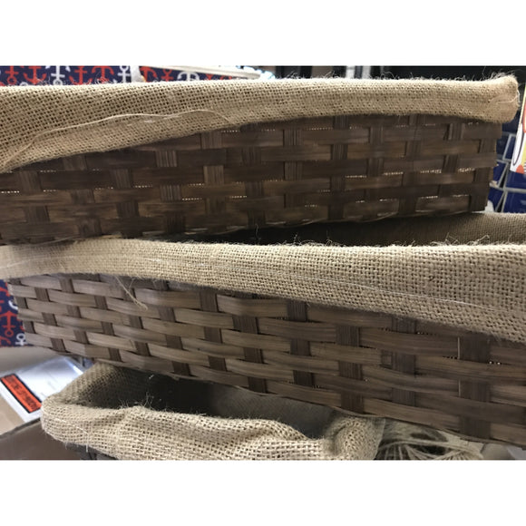 Rectangular Woven Basket with Burlap Liner-storage-Quinn's Mercantile