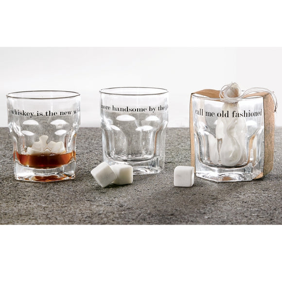 Whiskey Glass and Rocks Set-Bar accessories-Whiskey-Quinn's Mercantile