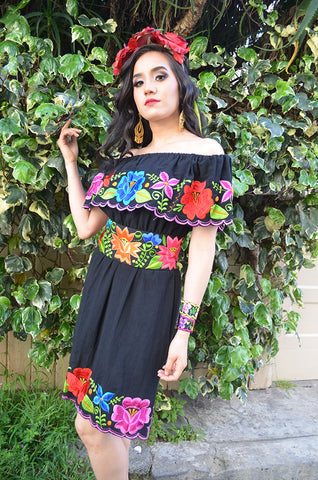 Multicolor Embroidered Off Shoulders Mexican Dress Black Lace Crochet