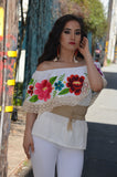 Off White Mexican Off Shoulder Peasant Blouse From Mexico
