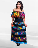 Mexican Off Shoulder Peasant Top Blouse /Tunic Embroidered Black Multi Flowers