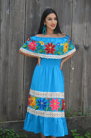 Mexican Blue Wedding Dress Multicolor Embroidered Off Shoulders