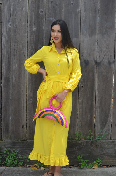Yellow Woman Dress Spring and Summer