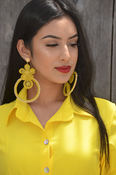 Beautiful Handmade Yellow Mexican Earrings