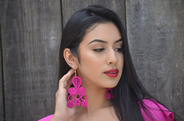 Beautiful Handmade Fuchsia Mexican Earrings