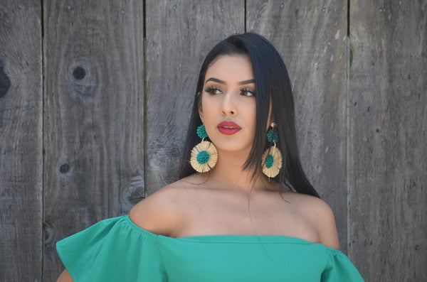 Beautiful Handmade Mexican Green Earrings