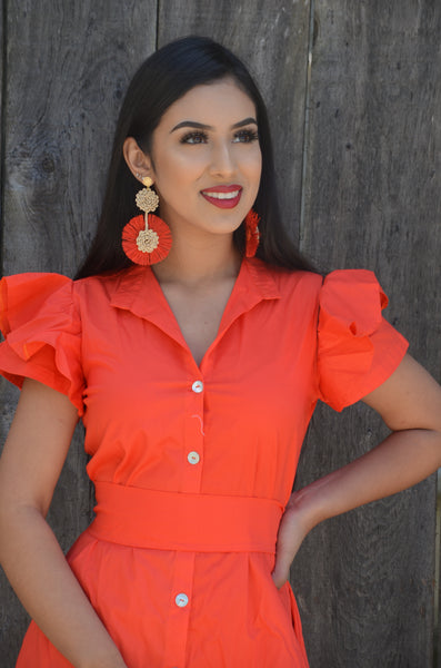 Beautiful Handmade Mexican Orange Earrings