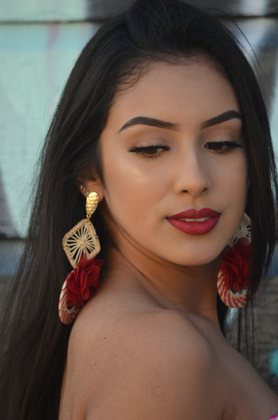 Beautiful Handmade Mexican Red Earrings