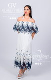 Long Blue Mexican Off Shoulder Dress Tunic Eyelet Trim