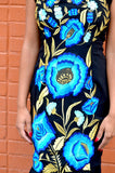 Mexican Embroidered Blue and Gold Flowers Dress