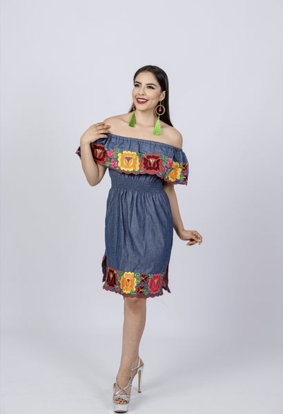 Mexican Embroidered Dress Jean Multicolor Flowers off the shoulders