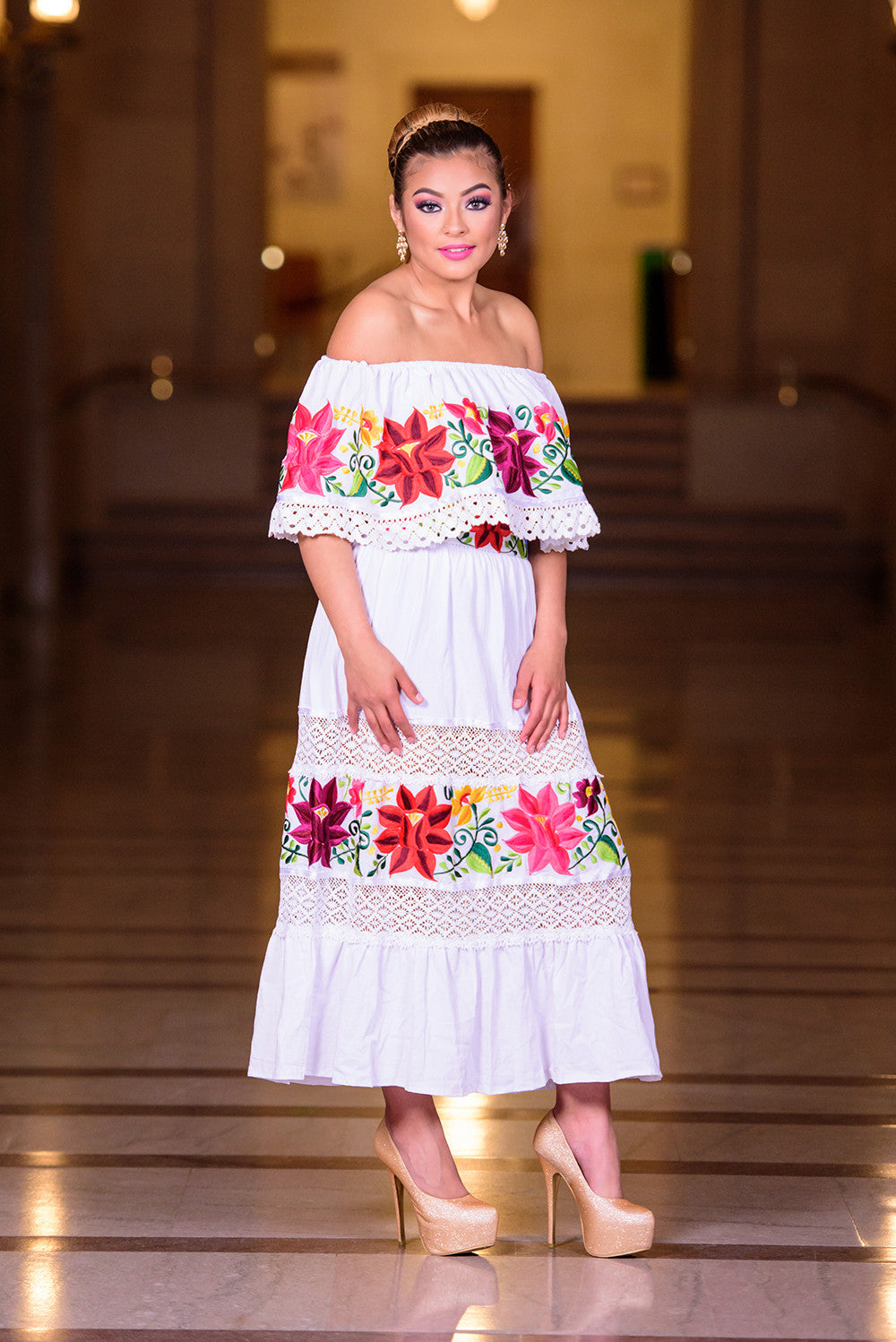Multicolor embroidered off shoulders mexican dress white for Mexican wedding dresses for sale