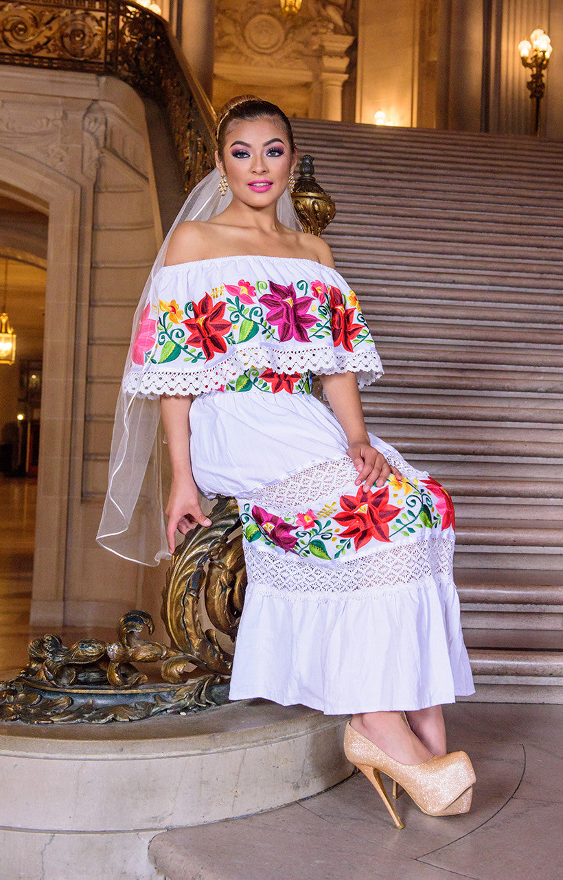 8eb5ee5934dc0 Multicolor Embroidered Off Shoulders Mexican Dress White – The ...