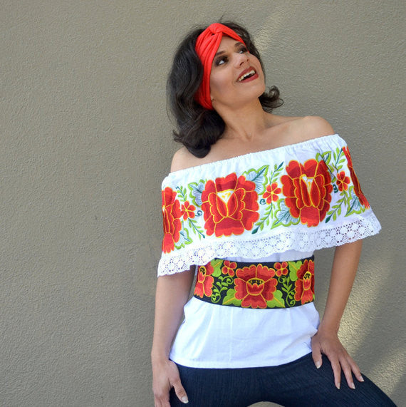 Top Blouse Tunic Embroidered Multicolor Flowers