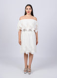 White Mexican Off Shoulder Dress Tunic Eyelet Trim