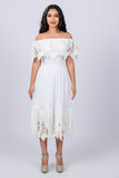 Long White Mexican Off Shoulder Dress Tunic Eyelet Trim