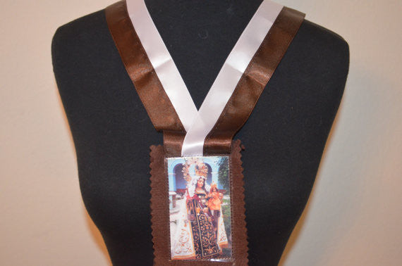 X-Large Beautiful Virgin Of Carmel Scapular Handmade
