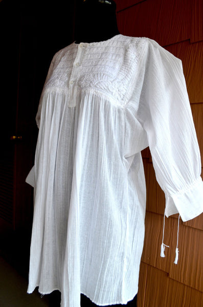 Hand Made and Embroidered White Blouse Top Peasant