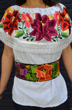 Top Blouse Embroidered Multicolor Flowers