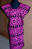 Vibrant Mexican Fuchia Hand Embroidered Dress Huipil Tunic