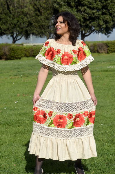 Multicolor Embroidered Off Shoulders Mexican Dress Beige