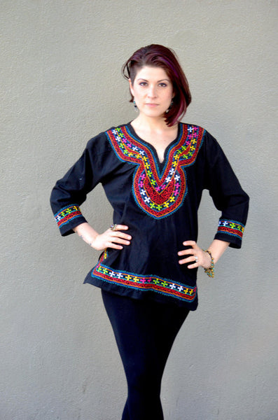 Hand Embroidered Blouse Huipil Tunic from Oaxaca Mexico