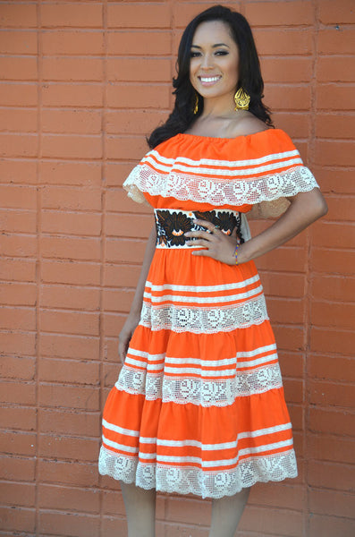 Gorgeous Orange Mexican Off Shoulder Dress Crochet Lace Trim