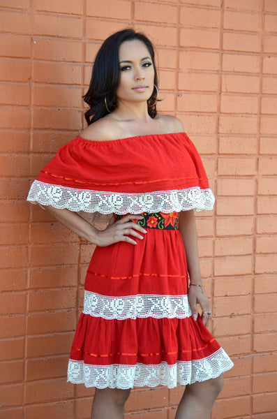 Gorgeous Red Mexican Off Shoulder Mini Dress Crochet Lace Trim