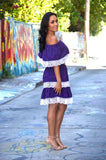 Purple Mexican Off Shoulder Mini Dress Crochet Lace Trim
