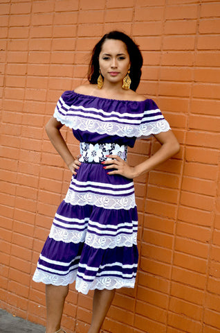 Gorgeous Purple Mexican off Shoulder Dress crochet Lace Trim