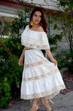 Mexican Wedding Dress maxi Boho hippie draped sheer Off shoulder cream off white