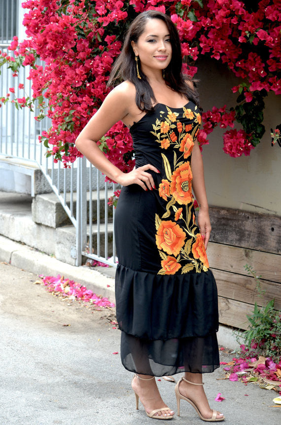 Mexican Embroidered Orange And Gold Flowers Dress The Fridas Closet