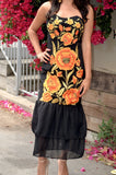 Mexican Embroidered Orange and Gold Flowers Dress