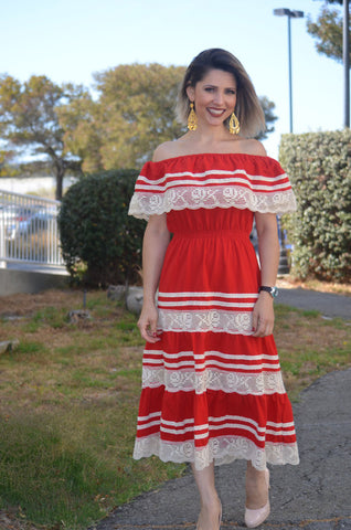 Gorgeous Red Mexican Off Shoulder Dress w/Crochet Lace Trim